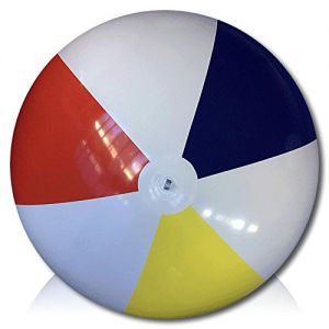 ULTRA Durable & Custom {12' Feet} 1 Single of XLarge-Size Inflatable Beach Ball for Summer Fun, Made of Lightweight FLEX-Resin Plastic w/ Retro Thick Alternating Solid Wedge Stripes Style {Multicolor}