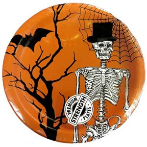 "Custom & Unique {7"" Inch} 8 Count Multi-Pack Set of Medium Size Round Circle Disposable Paper Plates w/ Spooky Happy Halloween Skeleton w/ Tophat & Bat Scary Party ""Orange, Black & White Colored"""