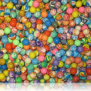 Custom & Unique {27mm} 24 Lot Pack, Mid-Size Super High Bouncy Balls, Made of Grade A+ Rebound Rubber w/ Abstract Bright Colorful Rainbow Marbled Swirl Pattern & Vibrant Solid Tones Style (Multicolor)