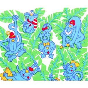 """Custom & Decorative {1"""" to 2"""" Inch} 20 Piece Pack of Mid-Size Stickers for Arts, Crafts & Scrapbooking w/ Bright Silly Zoo Animal Fun Haning Monkeys w/ Bananas & Colorful Leaves {Red, Green & Blue}"""