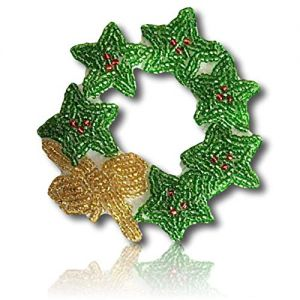 "Beautiful & Custom {3.5"" Inch} 1 of [Sew-On & Glue-On] Embroidered Applique Patch Made of Beads & Sequins w/Wonderful Chirstmas Spirit Wreath w/Multiple Stars & Single Bows Combo Style {Green, Gold}"