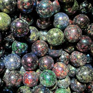 """Unique & Custom {5/8"""" Inch} Set of Approx 200 """"Round"""" Opaque Marbles Made of Glass for Filling Vases, Games & Decor w/ Cool Shiny Rainbow Dark Galaxy Speckled Artistic Effect Design [Assorted Colors]"""