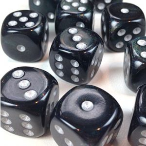Custom & Unique {Standard Medium 16mm} 12 Ct Dozen Pack Set of 6 Sided [D6] Square Cube Shape Opaque Playing & Game Dice w/ Rounded Corner Edges w/ Shimmer Design [Black & Silver Colored] w/ Bag