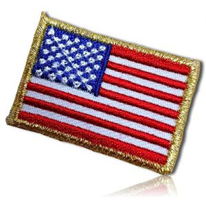 """Unique & Custom {1.6"""" x 1.1"""" Inch} 1 of [Glue-On, Iron-On & Sew-On] Embroidered Applique Patch Made of Natural Cotton w/American Flag Golden Border Stars & Stripes {Red, White & Blue} + Certificate"""