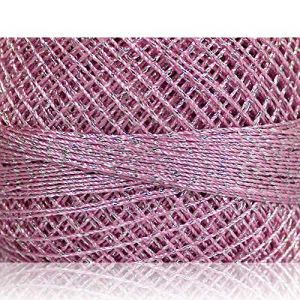 """Fabulous Crafts {2070 Total Yards / 200g} 10 Cakes Pack of Durable"""" Size 0 Lace Weight Fingering"""" Yarn for Knitting, Crochet & More, Made of 70% Polyester & 30% Lurex w/Pillow Style {Silver & Pink}"""