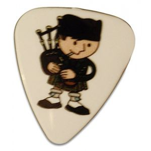Unique and Custom (.76 MM Thick) Medium Gauge Hard Plastic, Traditional Style Semi Tip Guitar Pick w/Cute Scottish Bagpipe Boy Scotland Design {Green, Tan & White - 5 Picks Multipack}
