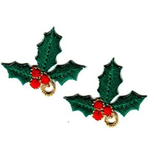 CHRISTMAS RED /& GREEN BELLS w//HOLLY Small Iron On Patch Holiday Decoration