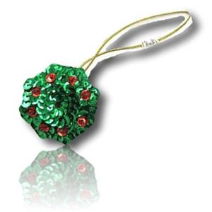 """Beautiful & Custom {1.5"""" Inch} 1 of [Sew-On & Glue-On] Embroidered Applique Patch Made of Sequins w/Tiny X-Mas Holiday Season Wreath Ornament w/Hanging Rope & Swirly Chirstmas Design {Green, Gold}"""