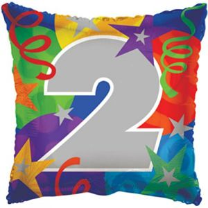 "Custom, Fun & Cool {Big Large 18"" Inch} 1 Pack of Helium & Air Inflatable Foil Balloons w/ Confetti Number 2 Design [Purple, Blue, Silver & Red]"