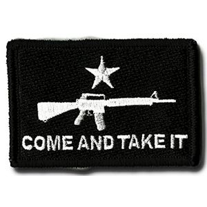 "[Single Count] Custom, Cool & Awesome {3"" x 2"" Inches} Small Rectangle Outlined Come and Take it Military Asult Riffle m16 (Tactical Type) Velcro Patch ""Black & White"""