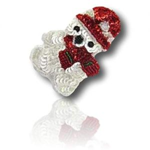"""Beautiful & Custom {3"""" x 2"""" Inch} 1 of [Sew-On & Glue-On] Embroidered Applique Patch Made of Beads & Sequins w/Snow Artic Teddy Bear w Small Hat & Scarf Christmas Holiday Style {Red, White, Black}"""
