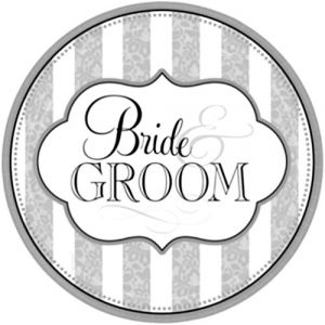 """Custom & Unique 10"""" Inch} 18 Count Multi-Pack Set of Medium Size Round Circle Disposable Paper Plates w/ The Bride And The Groom Wedding Party Celebration """"Gray, White & Black Colored"""""""
