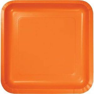 "Custom & Unique {7"" Inch} 18 Count Bulk Multi-Pack Set of Medium Size Square Disposable Paper Plates w/ Festive Holiday Surprise Party Decor Autumn Theme ""Bright Orange Colored"""
