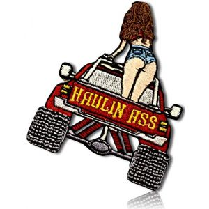 "Unique & Custom {2.25"" x 3"" Inch} 1 of [Glue-On, Iron-On & Sew-On] Embroidered Applique Patch Made of Natural Cotton w/Sexy Short Shorts County Girl Lifted Mud Truck {Red, Gray, Tan} + Certificate"