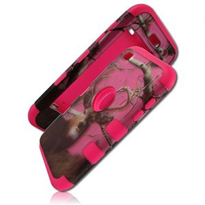 mySimple 3 Piece SECURE-Fit Rubberized Gel Hybrid Case w/2 Layered SHOCKPROOF Protection for Apple iPod Touch 4th Gen w/Deer Buck In Woodland Tree Forest Hunting Style {Brown, Pink, Black, White}