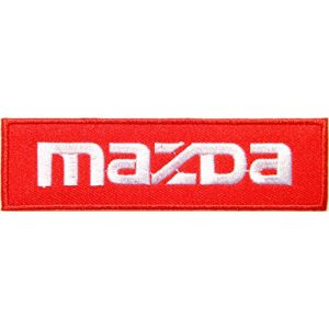 MAZDA Logo Sign Car Truck Racing Patch Iron on Applique Embroidered T shirt Jacket Costume BY SURAPAN (white on red)
