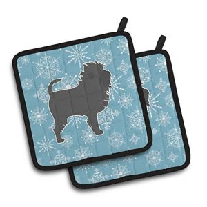 """Custom & Durable {7.5"""" X 7.5"""" Inch Each} 2 Set Pack Mid Size """"Non-Slip"""" Pot Holders Made of Cotton for Carrying Hot Dishes w/ Painted Treasures Snowflake Affenpinscher Style [Blue, White, & Black]"""