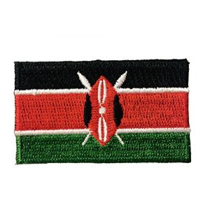Flag Embroidered Iron on Sew on Badges Patches - Asia & Africa (Country: Kenya)