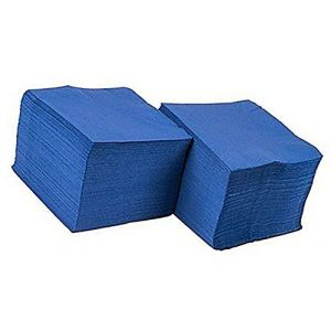 """Custom Made & Disposable {5"""" Inch} 100 Count of 2 Ply Mid-Size Size Square Food & Beverage Napkins, Made of Soft Absorbent Paper w/ Bold Classic Cobalt Birthday Patterned Party Style {Blue}"""