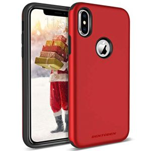 BENTOBEN Case for Apple iPhone XS 2018, iPhone X/10 Cases, Slim Cute Girl Women iPhone Case Hybrid Heavy Duty Shockproof Protective Rugged Phone Cases Cover for iPhone XS/X 5.8 Inch - Christmas Red