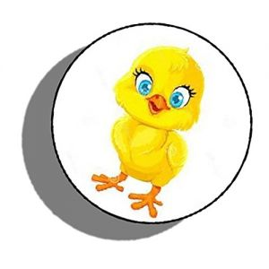 """Custom & Decorative {1.2"""" Inch} 48 Piece Pack of Mid-Size Stickers for Arts, Crafts & Scrapbooking w/ Cute Cartoon Little Baby Easter Chick Style { Yellow, Orange, White & Black}"""