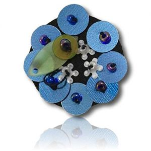 """Beautiful & Custom {1"""" Inch} 1 of [Sew-On & Glue-On] Embroidered Applique Patch Made of Beads & Sequins w/Innovative Multi-Circular Flower Head w Nice Aqua Like Shade & Dark Background {Multicolored}"""