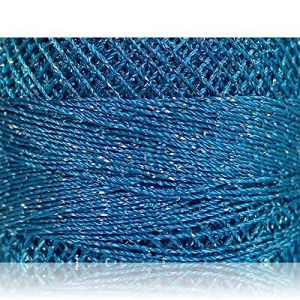 """Fabulous Crafts {2070 Total Yards / 200g} 10 Cakes Pack of Durable"""" Size 0 Lace Weight Fingering"""" Yarn for Knitting, Crochet & More, Made of 70% Polyester & 30% Lurex w/Heaven Style {Silver & Blue}"""