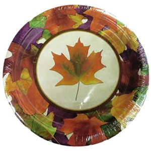 "Custom & Unique {7"" Inch} 8 Count Multi-Pack Set of Medium Size Round Circle Disposable Paper Plates w/ Autumn Fall Colorful Leaves Party Celebration Event ""Orange, Green & Yellow Colored"""
