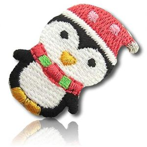 "Beautiful & Custom {1.2"" x .8"" Inch} 1 of [Iron-On] Embroidered Applique Patch Made of Cotton w/Adorable Baby Penguin Wearing Stocking Cap & Cute Scarf w/Tiny Hands & Feet Design {Multicolored}"