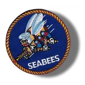 "[Single Count] Custom and Unique (3"" Inch) Circular Simple Basic Military United States Seabees Design Iron On Embroidered Applique Patch {Black, White, & Blue Colors}"