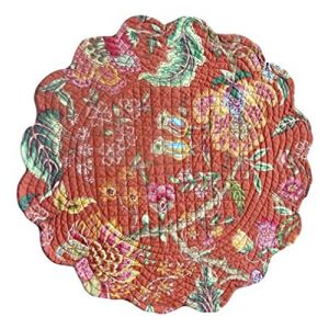"""Unique & Custom {17"""" Inch} Single Pack of Round """"Non-Slip Grip Texture"""" Large Reversible Table Placemat Made of Washable 100% Cotton w/ Country Floral Rustic Quilted Design [Colorful Red & Green]"""