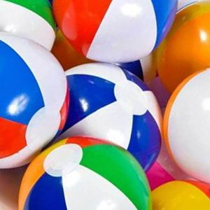 """ULTRA Durable & Custom {8"""" Inch} 48 Wholesale Pack of Small-Size Inflatable Beach Balls for Summer Fun, Made of Lightweight FLEX-Resin Plastic w/ Assorted Vertical Umbrella Lines Style {Multicolor}"""
