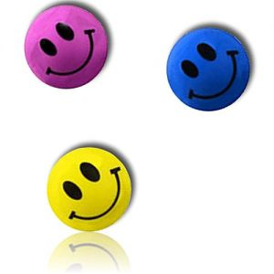 Custom & Unique {27mm} 500 Bulk Pack, Mid-Size Super High Bouncy Balls, Made of Grade A+ Rebound Rubber w/ Bright Solid Happy Classic Retro Smiling Grinning Beaming Emoji (Pink, Yellow, Black & Blue)