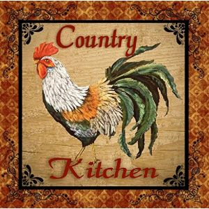 "Custom & Cool {3.5"" Inches} Set Pack of 4 Square ""Grip Texture"" Drink Cup Coasters Made of Flexible Poly Fabric w/ Rubber Bottom & Roosters Country Kitchen [Colorful Orange, Brown, White & Green]"