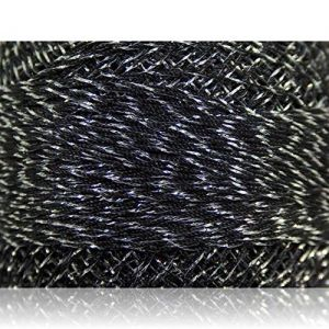 """Fabulous Crafts {2070 Total Yards / 200g} 10 Cakes Pack of Durable"""" Size 0 Lace Weight Fingering"""" Yarn for Knitting, Crochet & More, Made of 70% Polyester & 30% Lurex w/Light Night {Silver & Black}"""