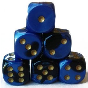 Custom & Unique {Standard Medium 12mm} 6 Ct Pack Set of 6 Sided [D6] Square Cube Shape Playing & Game Dice w/ Rounded Corner Edges w/ Swirl Pearl Agate Stone Two Tone Design [Blue, Black & Gold]