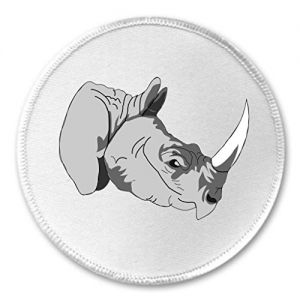 "A&T Designs Rhinoceros Face 3"" Sew On Patch Rhino Africa Asia"