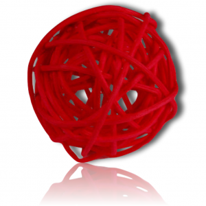 """Custom & Fancy {2.75"""" Inch} Approx 20 Pieces of Large Round Ball """"Table"""" Party Confetti Made of Premium Rattan w/ Modern Chic Romantic Rose Valentine Tone Natural Woven Twig Filler Design [Red]"""